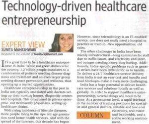 Dr. Sunita Maheshwari for Live Mint-Technology-driven healthcare entrepreneurship