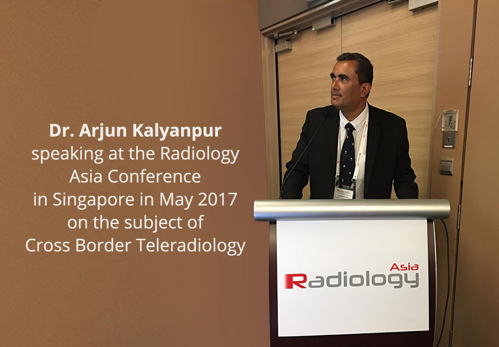 Dr Arjun Kalyanpur speaking at the Radiology Asia Conference in Singapore in May 2017 on the subject of Cross Border Teleradiology