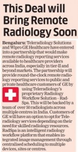Teleradiology Solutions and GE Healthcare join hands to improve access to advanced radiology interpretation services_The Economic Times_14 February 2017