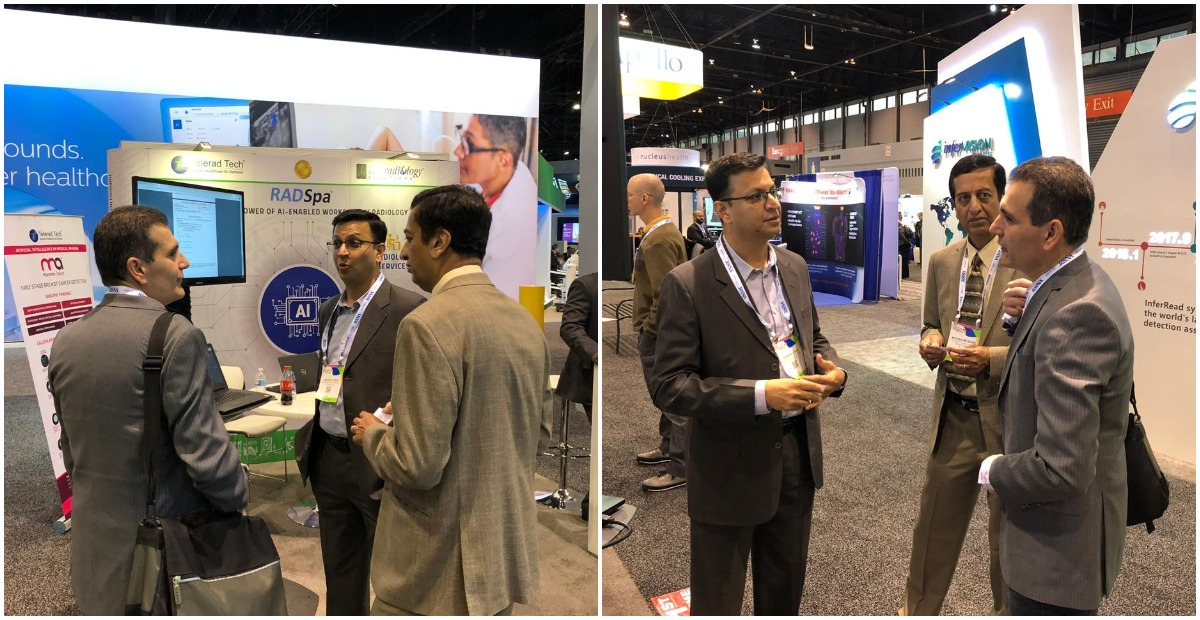 Our team in discussion with visitor at RSNA 2018